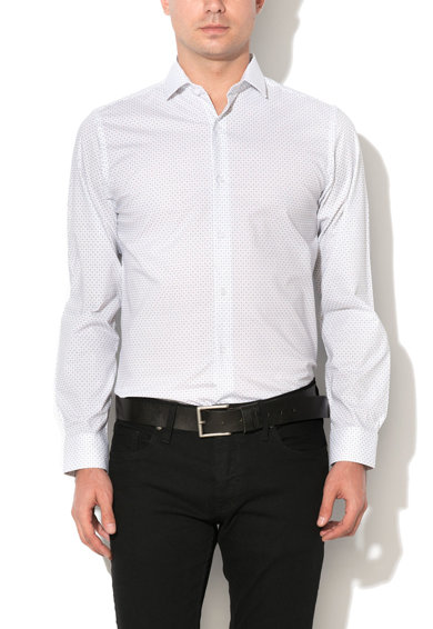 Camasa slim fit alba cu model cu cercuri Pisa de la Selected Homme