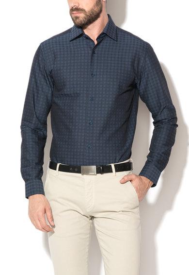 Camasa regular fit bleumarin inchis cu negru in carouri Corby
