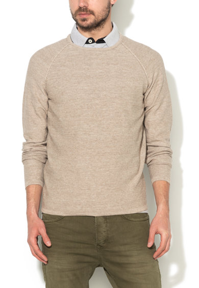 Pulover bej melange tricotat fin Trevor de la JackJones