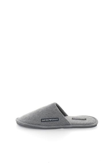 Papuci de casa gri melange din fetru de la Emporio Armani