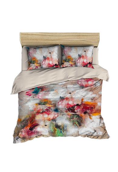 Set de pat multicolor cu imprimeu abstract