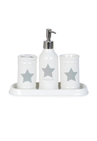 Set alb pentru baie cu imprimeu cu stea de la Clayre  Eef