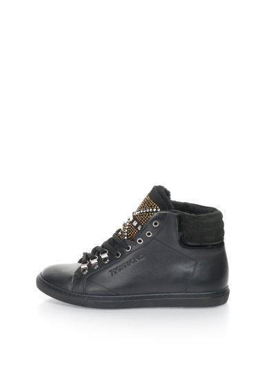 Pantofi sport mid-high negri de piele cu blana sintetica