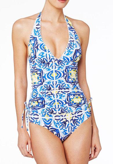 Costum de baie intreg albastru cu imprimeu de la NEXT
