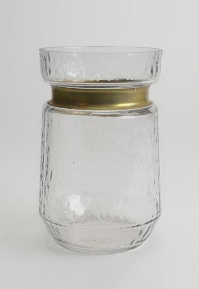 Vaza de sticla alb transparent cu detaliu auriu rose de la Amadeus