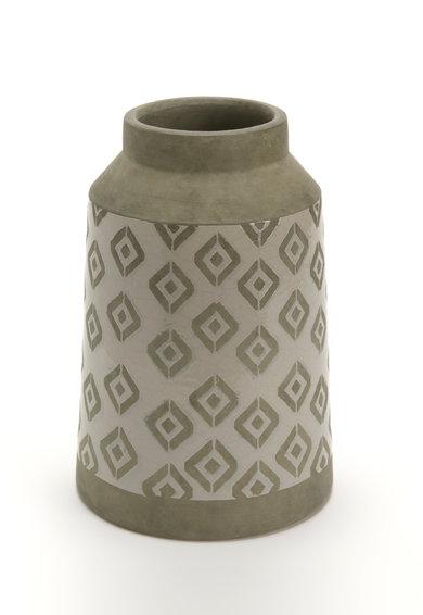 Vaza in nuante de gri cu model geometric din argila Graphik de la Amadeus