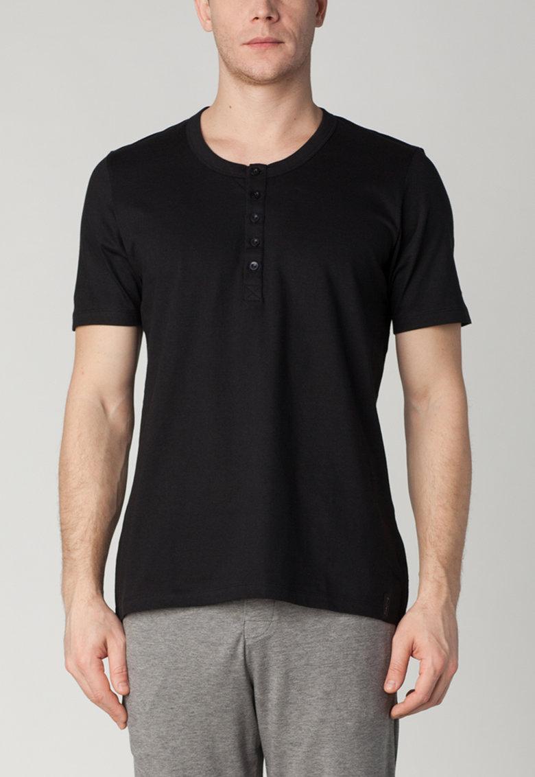 Skiny Tricou negru de casa inchis cu nasturi