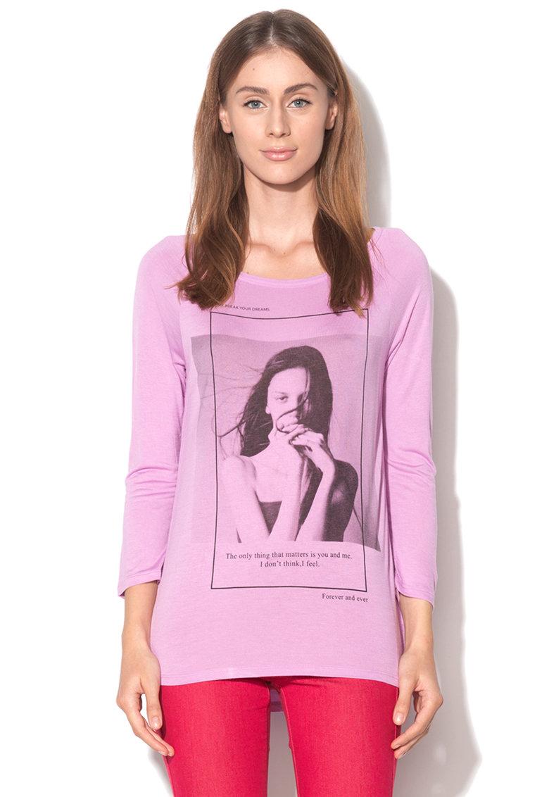 United Colors Of Benetton Bluza cu decolteu barcuta si imprimeu roz garoafa cu alb