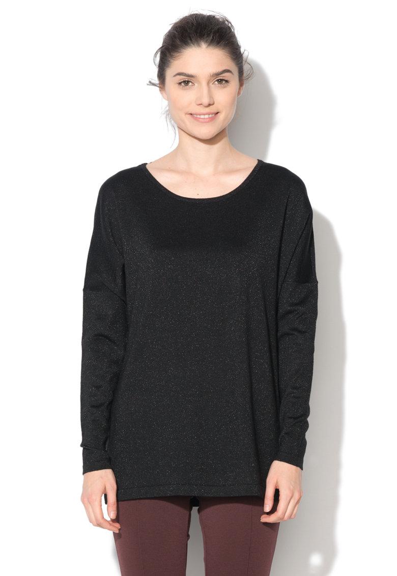Bluza neagra cu insertii din lurex Glory