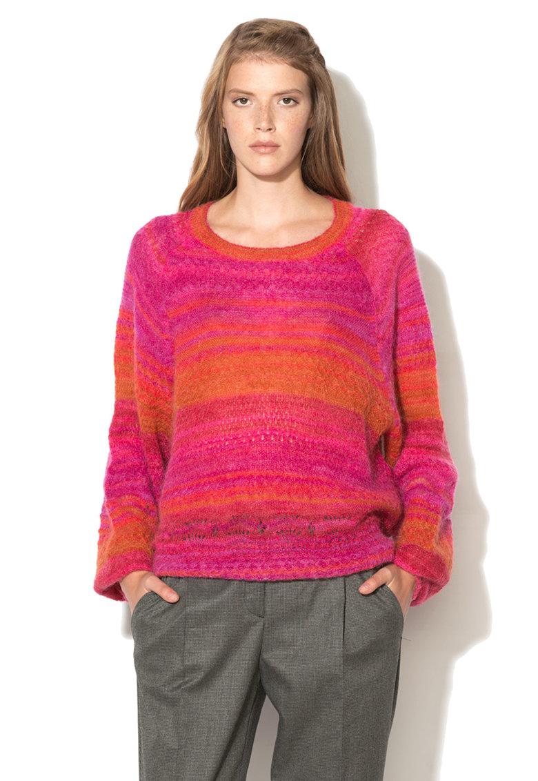 United Colors of Benetton Pulover oranj cu roz din amestec cu mohair