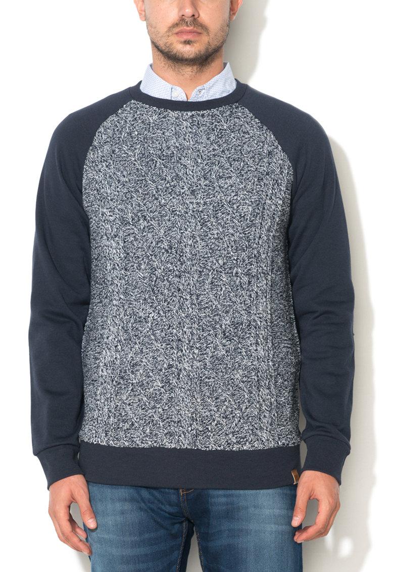 Bluza sport bleumarin cu partea frontala tricotata Sablon de la Big Star