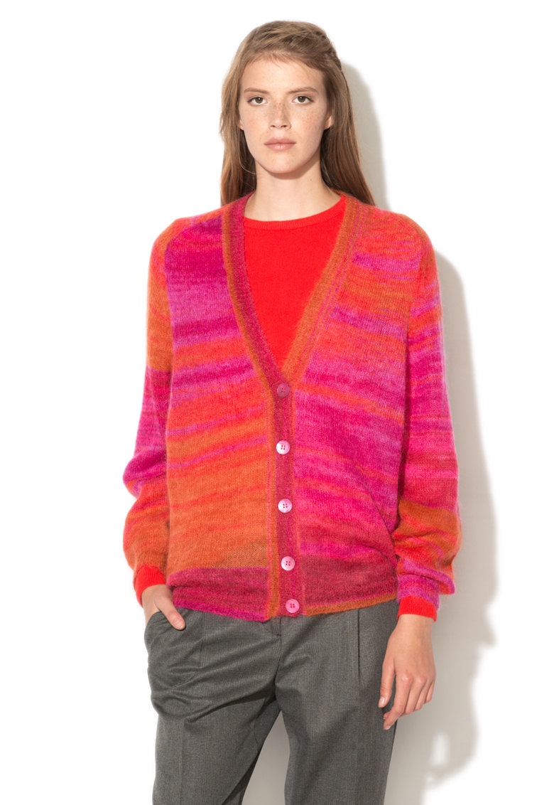 United Colors Of Benetton Cardigan oranj cu roz din amestec de mohair