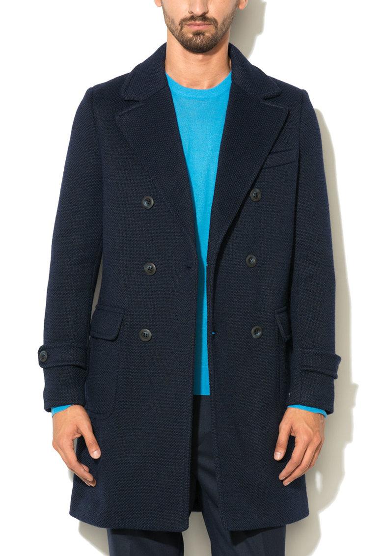 Haina bleumarin texturata din amestec de lana