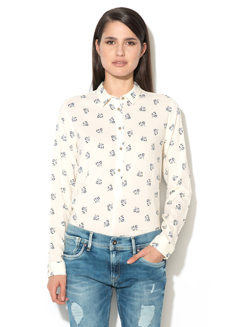 Pepe Jeans London Camasa alb unt tip tunica cu model floral Mina