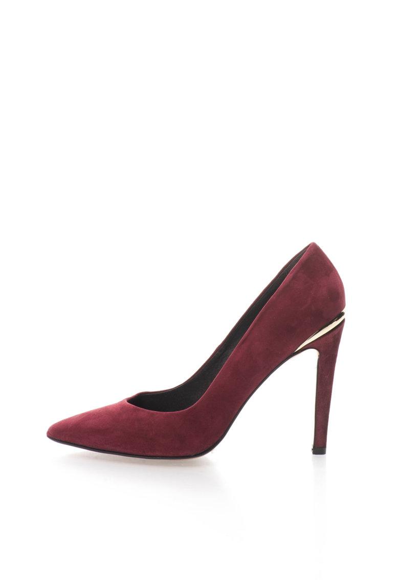 Roberto Botella Pantofi stiletto rosu Bordeaux de piele intoarsa cu detaliu auri