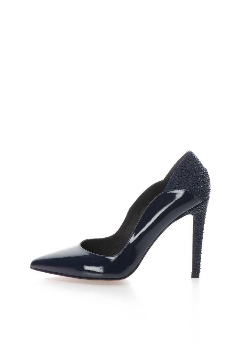 Roberto Botella Pantofi stiletto bleumarin de piele lacuita cu strasuri