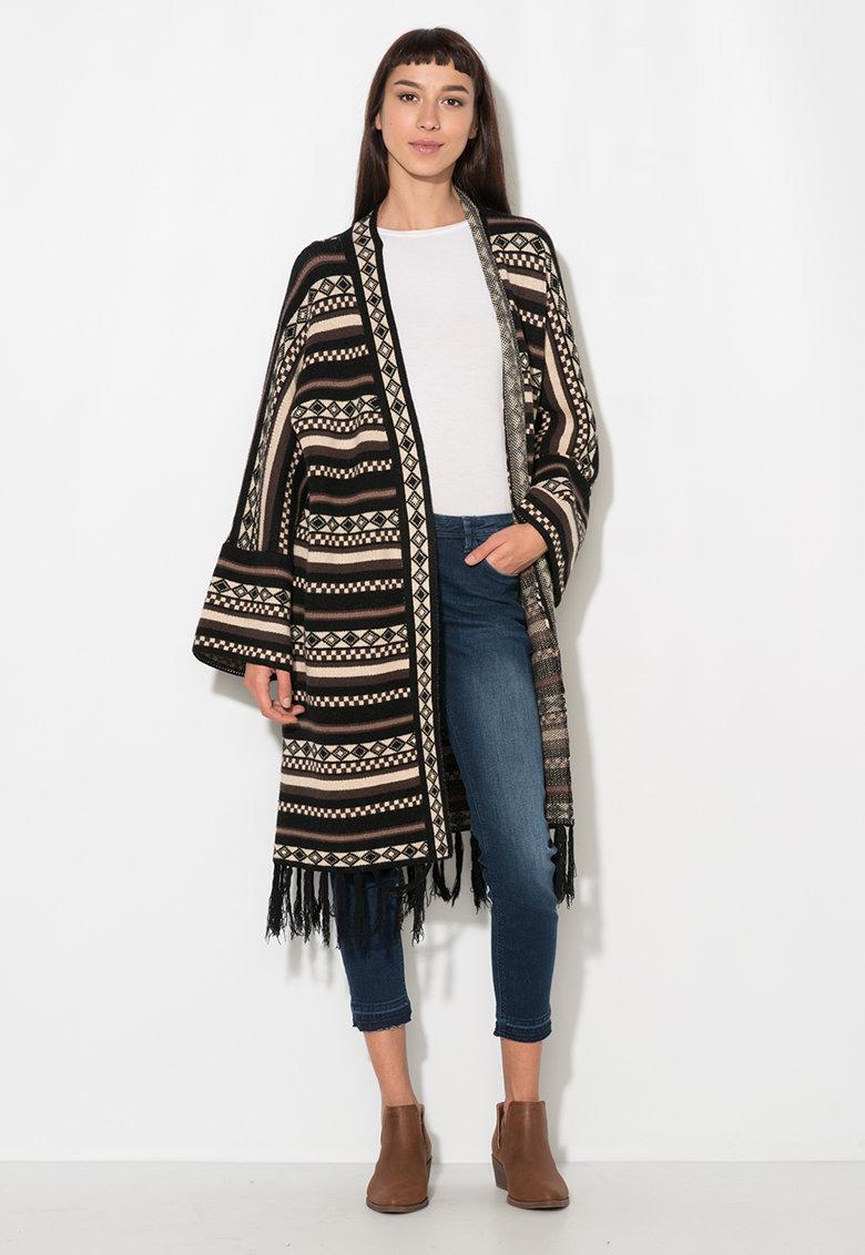 Zee Lane Denim Cardigan negru cu alb prafuit cu model aztec si franjuri