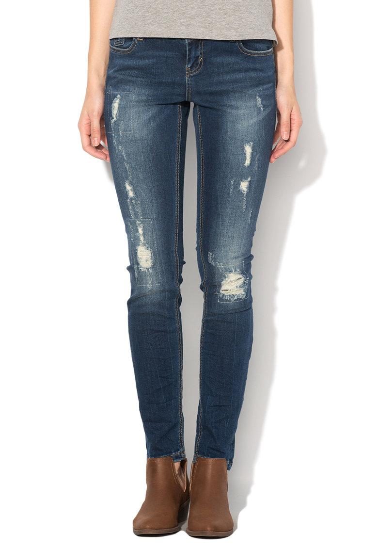 Vero Moda Jeansi slim fit albastru inchis cu aspect uzat Five