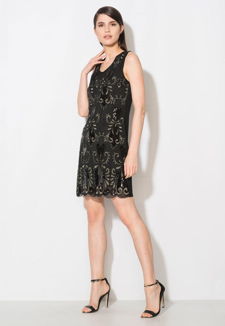Rochie neagra cu model din paiete Zee Lane Collection