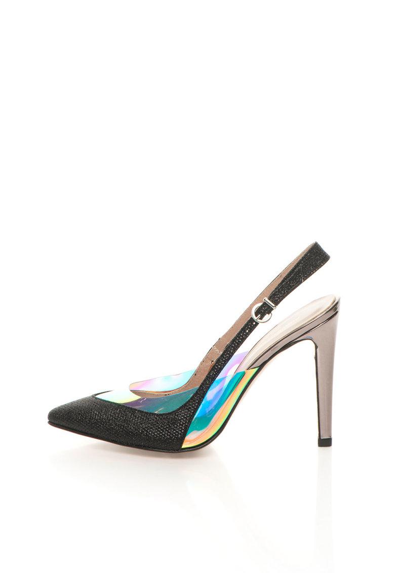 Pantofi slingback negri cu toc argintiu inchis
