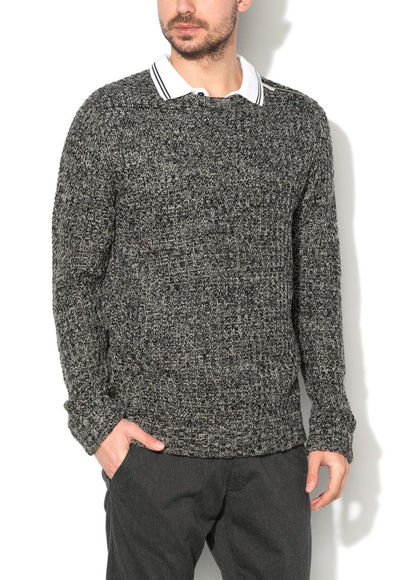 BRAVE SOUL – Pulover gri melange tricotat gros MK-181METEOR-BLACK-SILVER-GREY