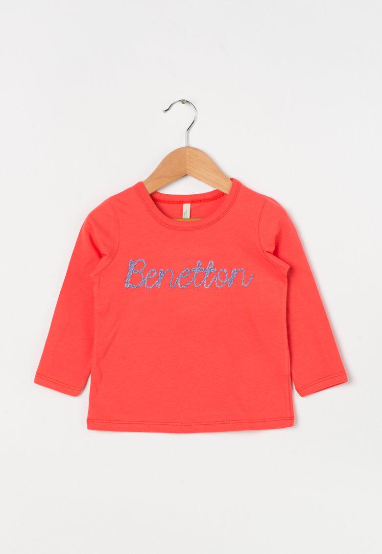 United Colors of Benetton Bluza roz aprins cu logo albastru cusut