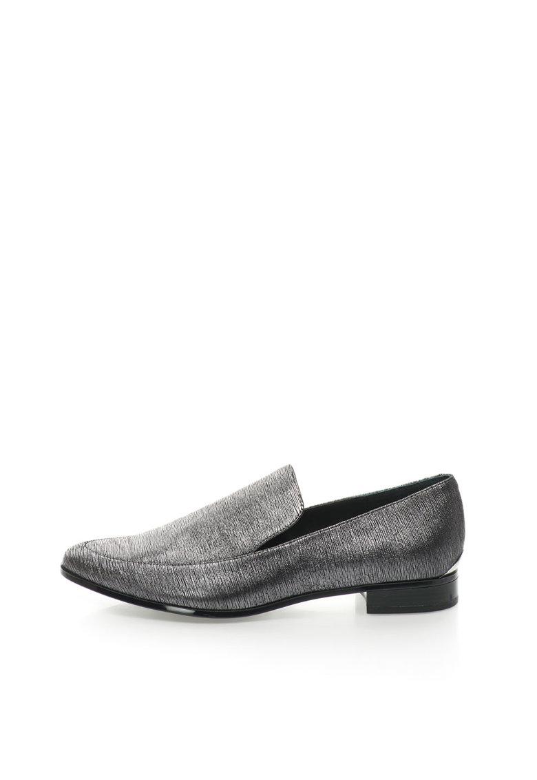 Calvin Klein Pantofi loafer argintii de piele intoarsa Falaina