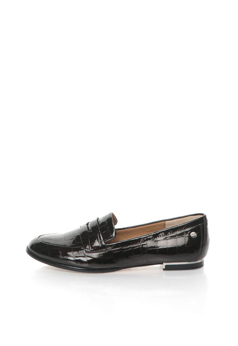 Calvin Klein Pantofi loafer negri de piele lacuita cu model crocodil Celia