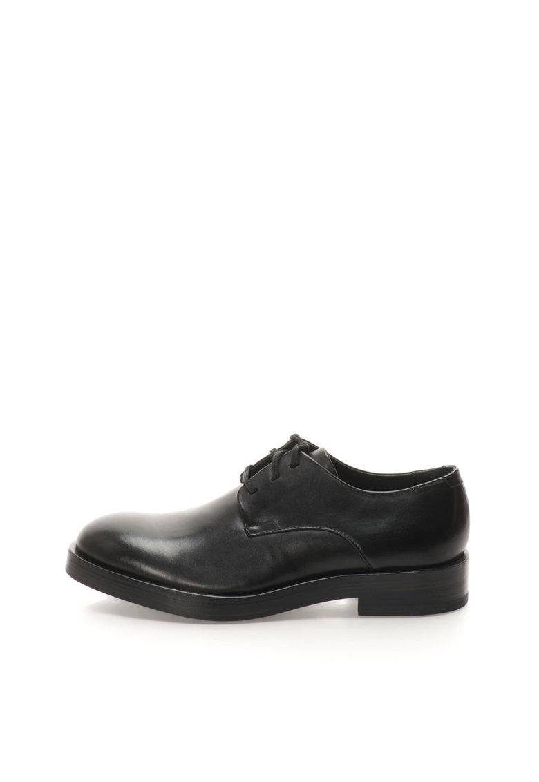 Pantofi negri de piele cu siret Rabi