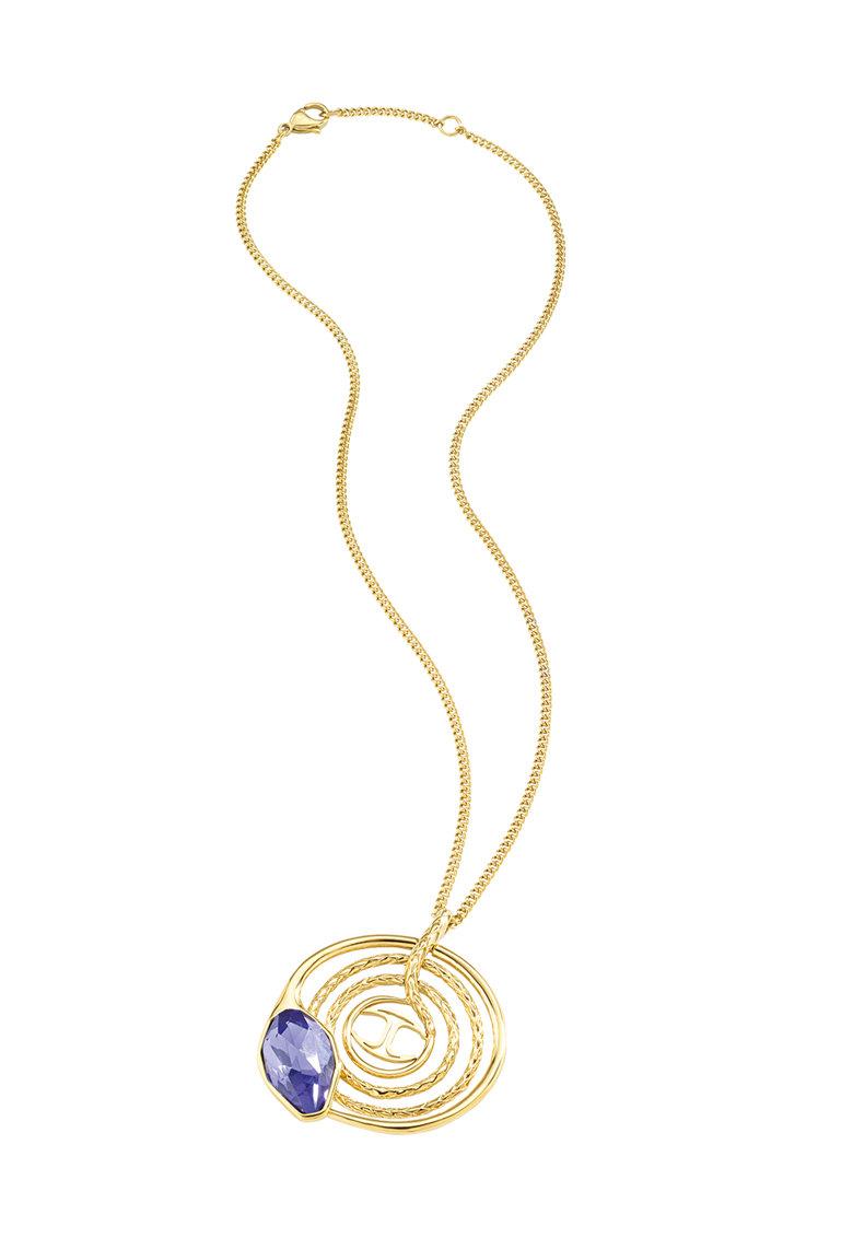 Just Cavalli Colier auriu cu cristal violet translucid Just Hipnose