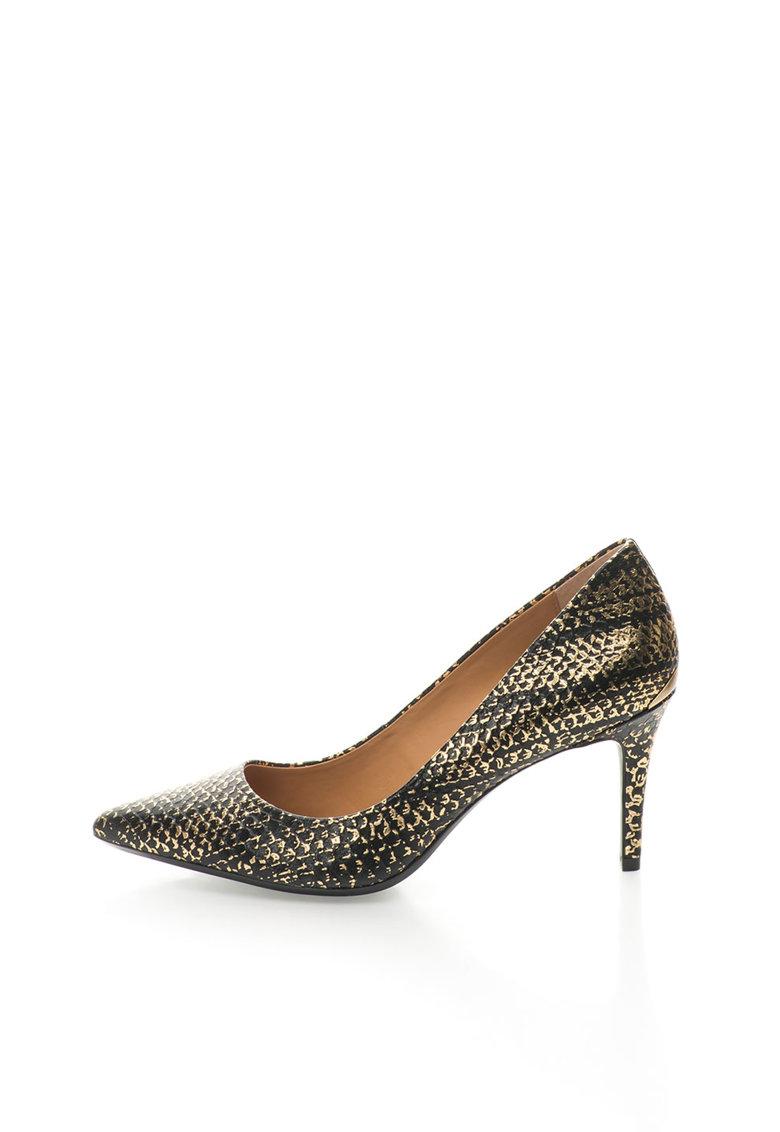 Calvin Klein Pantofi negru cu auriu de piele cu model sarpe Gayle