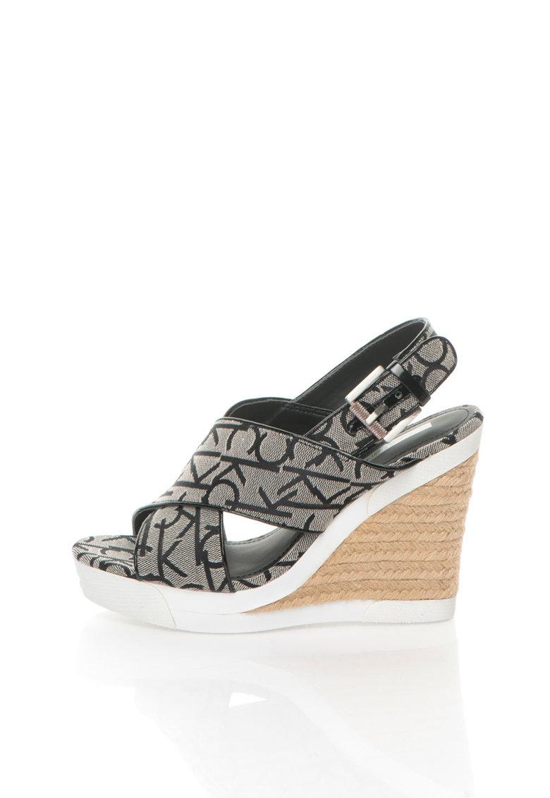 Sandale wedge negru cu alb cu logo Elaine de la Calvin Klein Jeans