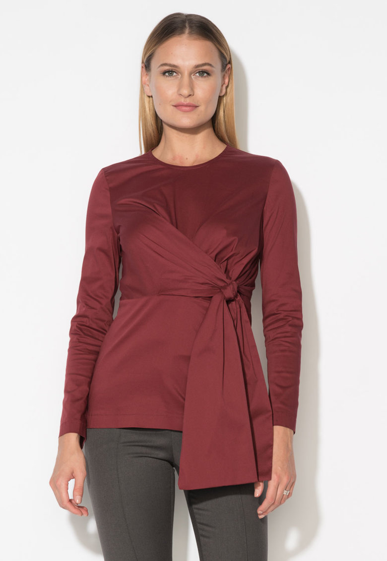 Zee Lane Collection Bluza rosu cordovan cu aspect infasurabi