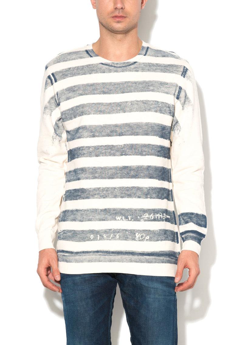 Bluza sport alb fildes cu imprimeu frontal in dungi