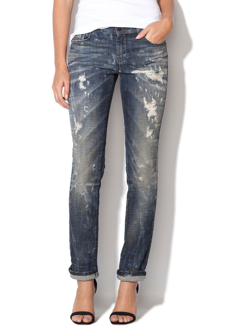 Jeansi albastru inchis slim fit cu aspect deteriorat Sandy Diesel