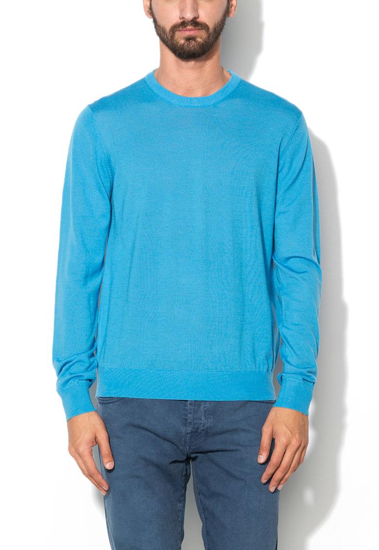 Hackett London Pulover albastru tricotat fin din lana merinos