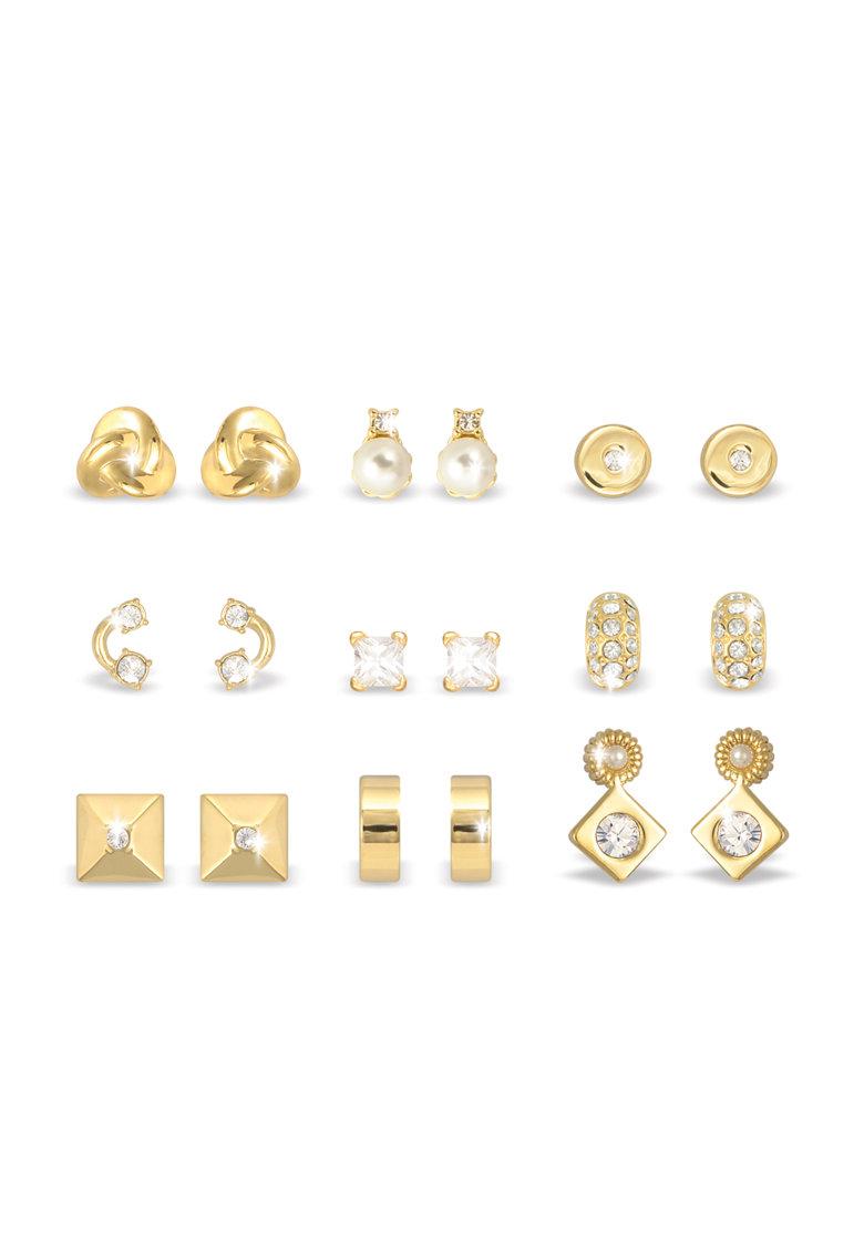 Pierre Cardin Set de 9 perechi de cercei aurii cu tija