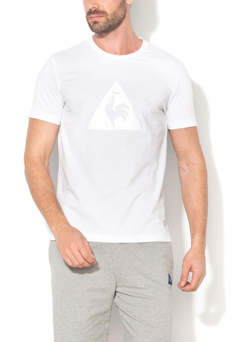 Tricou alb cu decolteu la baza gatului si logo fronta de la Le Coq Sportif