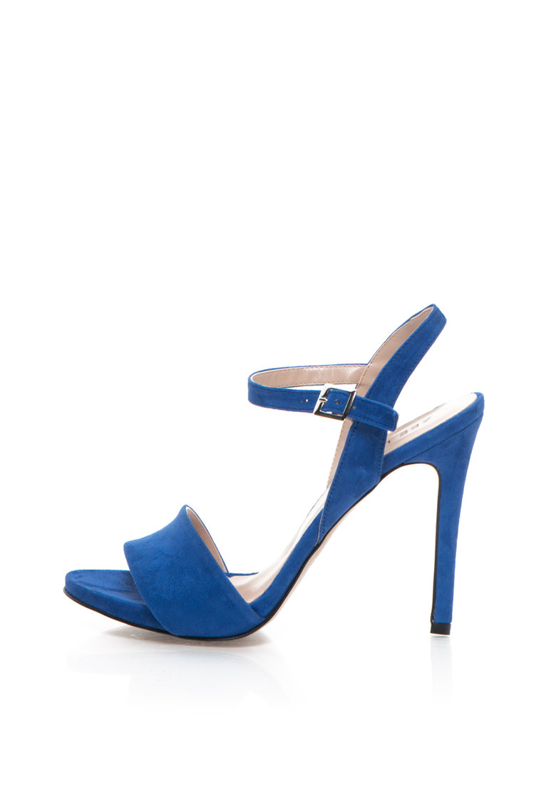Sandale albastre de piele intoarsa