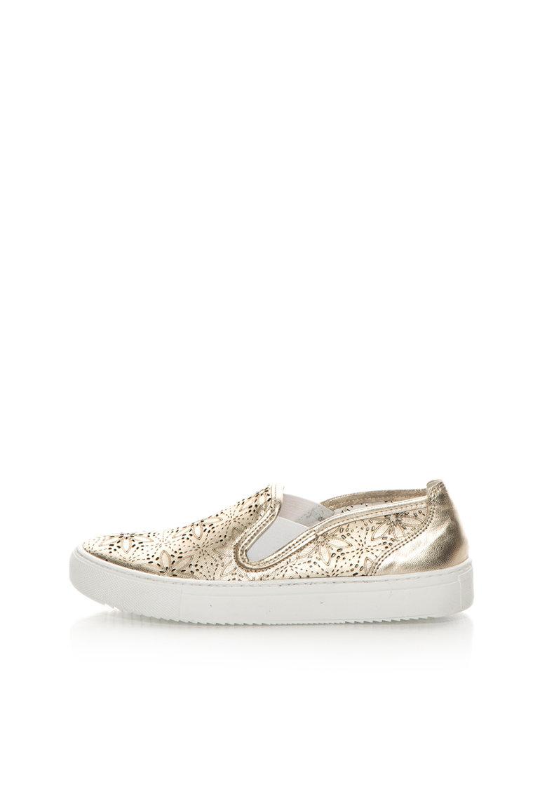 Zee Lane Pantofi slip-on aurii de piele