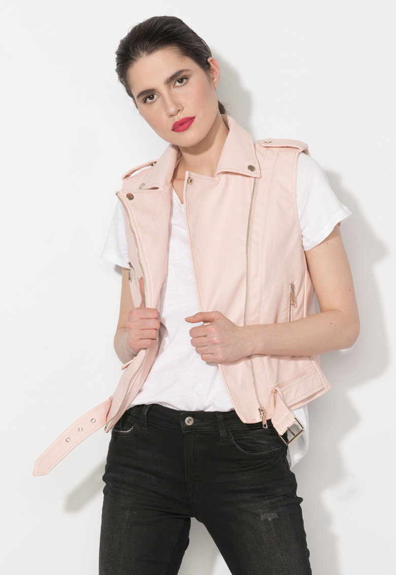 Vesta biker roz pal de piele sintetica