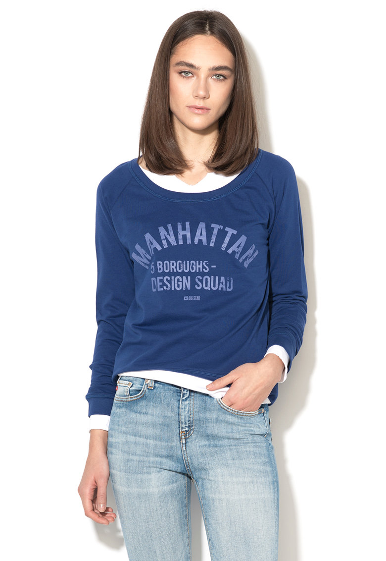 Bluza sport albastra cu imprimeu text Kalato