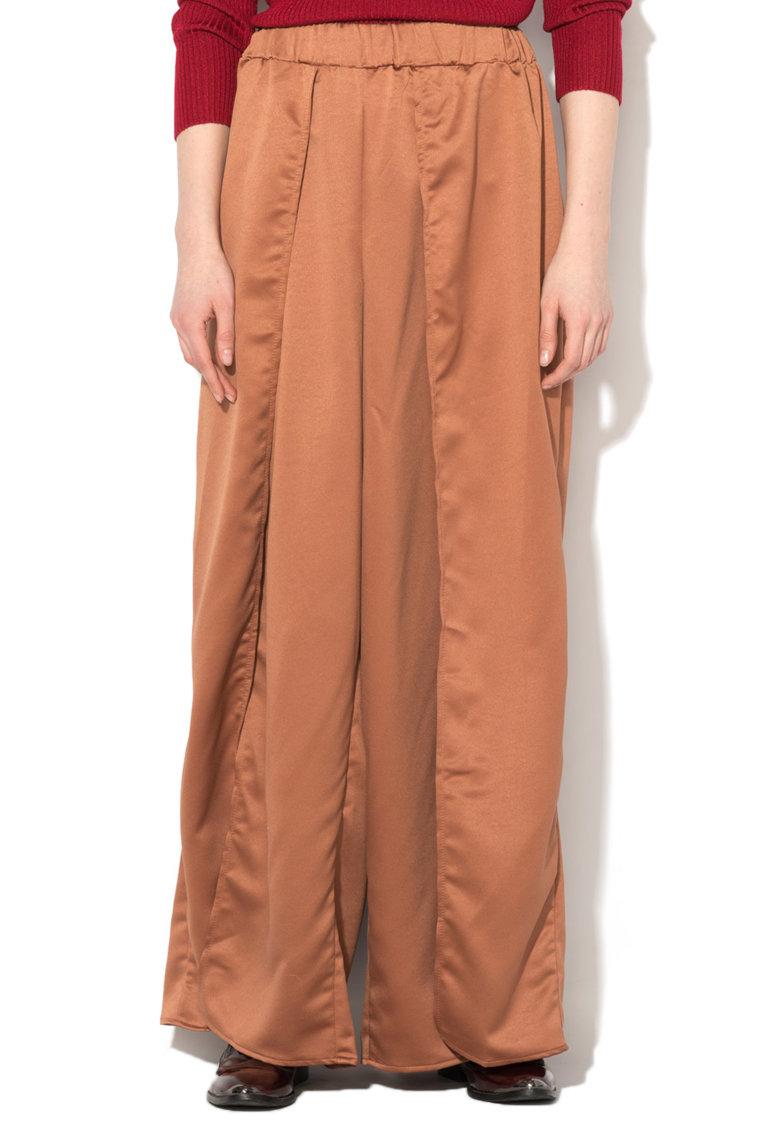 Glamorous Fusta-pantalon maro acaju de satin cu slit adanc
