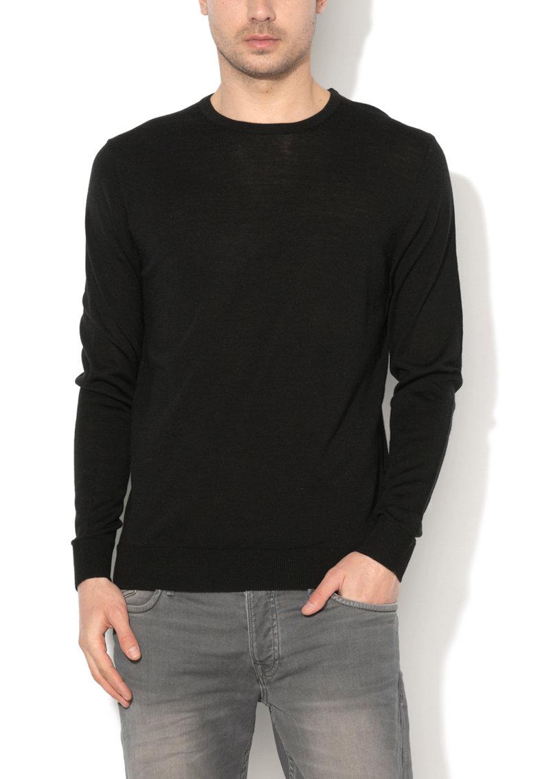 JackJones Pulover negru de lana merinos Mark
