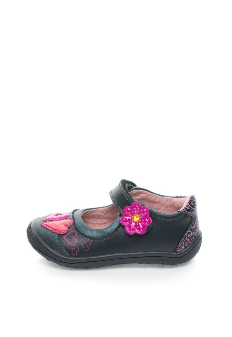 Pantofi Mary Jane bleumarin inchis cu fucsia de piele
