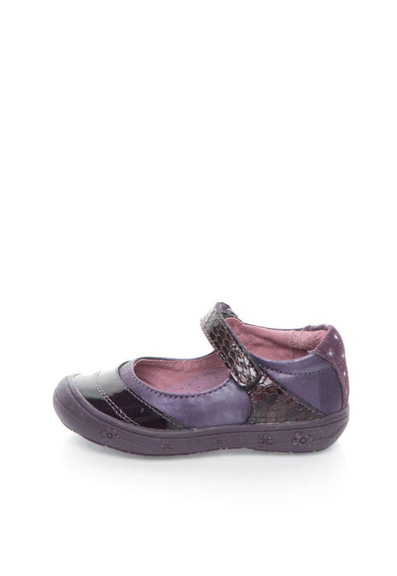 Lea Lelo Pantofi Mary Jane violet de piele si piele intoarsa
