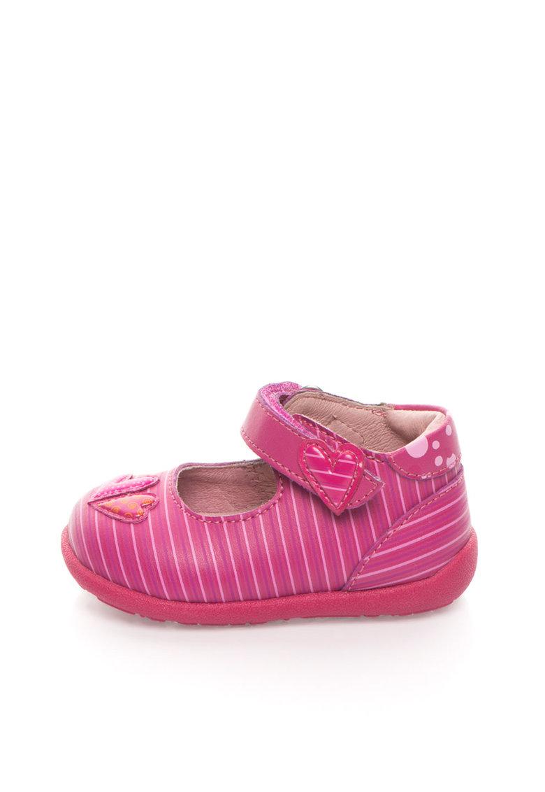 Pantofi Mary Jane roz de piele cu dungi