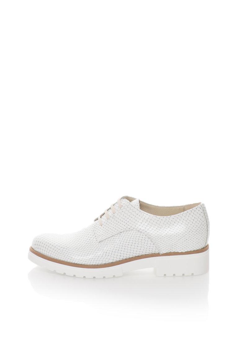 Zee Lane Collection Pantofi albi de piele lacuita cu model reptila