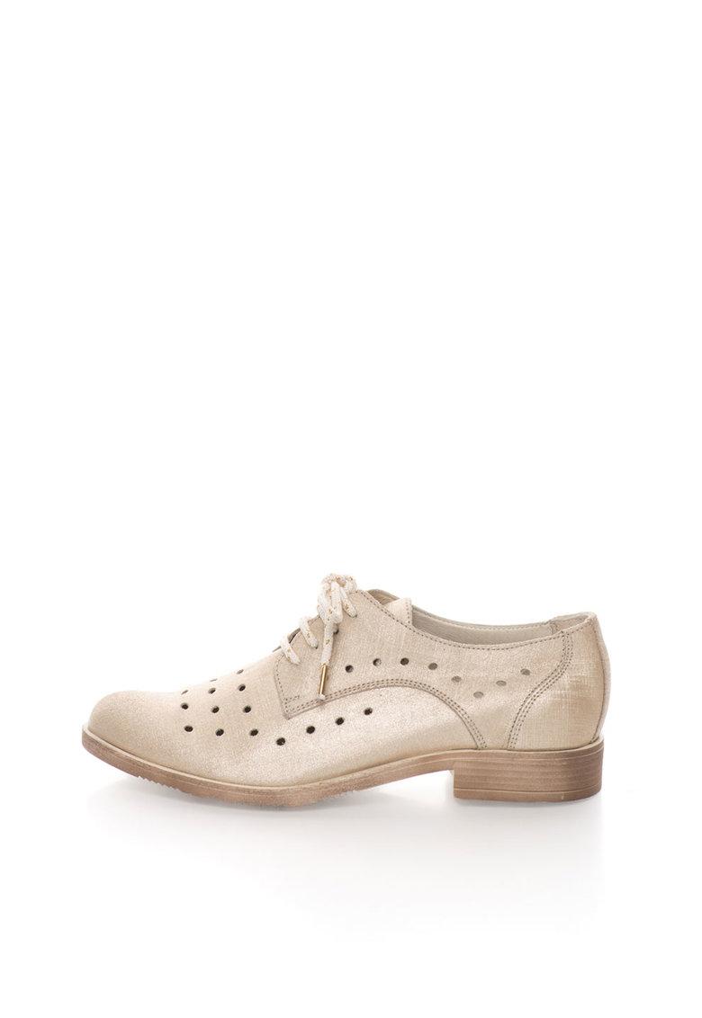 Zee Lane Collection Pantofi auriu deschis de piele cu perforatii