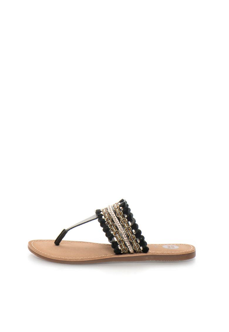 Gioseppo Papuci flip-flop negri de piele cu decoratiuni Sayani